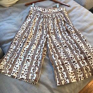 Free people brown print culottes, XS